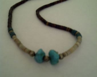 """Vintage 1970s Heishi and Turquoise Necklace, Barrel Clasp, Approximately 17"""""""