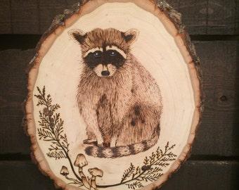 Raccoon Wood Burning - Rustic Round Raccoon Wall Hanging