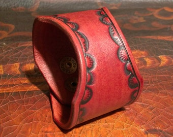 Leather Cuff Bracelet - Wrist Cuff - Leather Bracelet - Boho Cuff - Bushcraft - Hand Tooled and Dyed - made in the USA