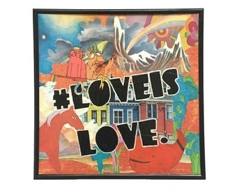 Love is Love Original Vinyl Record Cover Mixed Media Collage Art Vintage Music Upcycled Artwork Equal Rights LGBTQ Pride