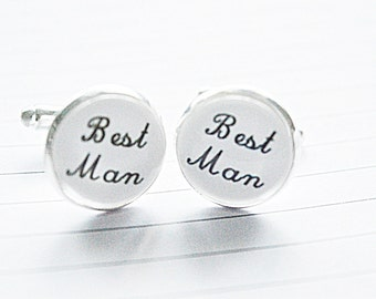 Best man cufflinks, best wedding cufflinks, grooms cufflinks, Wedding day, keepsake gift, mens cuff link