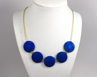 Sale Was 30 statement necklace, Blue necklace, saphire necklace, five strand necklace,  super fashion necklace