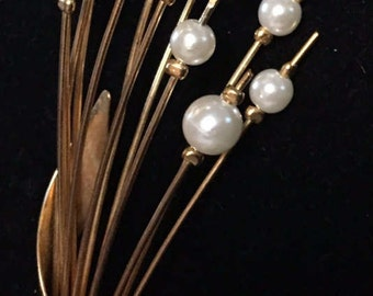 Vintage Pearl Spray Brooch Gold toned Large unmarked