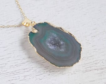 Green Druzy Necklace, Geode Necklace, Sliced Agate Necklace, Boho Necklace, Drussy, Gemstone Necklace, Gold Layering Necklace, Gift, 8-284