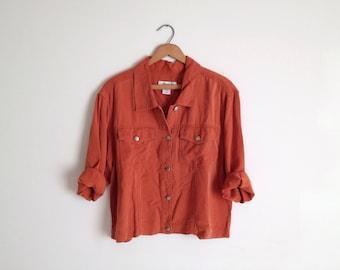 Vintage 90s Burnt Orange Lightweight Cropped Jacket