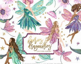 Fairies Dragonflies Clip art Hand drawn Flowers Glitter Fashion Fantasy Illustration | Planner Stickers Digital Graphic Resources Cliparts