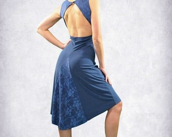 Blue/ Black argentine tango dress with lace and tail