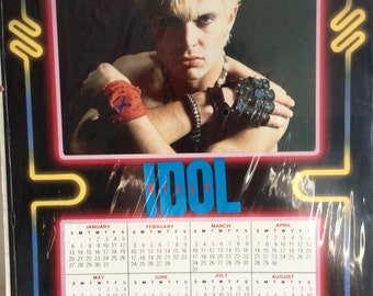 Vintage 1985 Billy Idol Calendar, I Want My MTV Punk Rocker Billy Idol Collectible, 1980's Pop Star Collectibles, Cool Vintage 80s Calendars