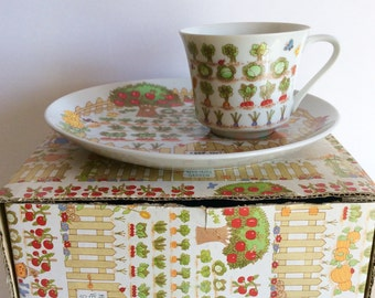 Vintage Tea Luncheon Set, Enesco 1976 Vegetable Garden Snack Plate And Cup Set, Gift For Gardeners, Tea Party Fine China, Old Scarecrow, Mod