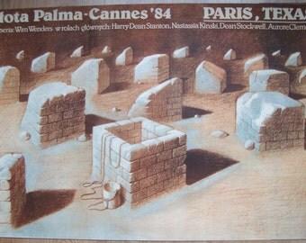 Paris Texas, Movie Poster, Cannes, 1980s, Awards, Polish poster, 38x26, Harry Dean Stanton, Nasstasja Kinsky, French movies, wall decoration