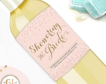 SHOWERING THE BRIDE wine label, Bridal Shower Decor, Bridal Brunch Invitation, Bridal Shower Favor, Lingerie Shower Gift, Hen Party Favors