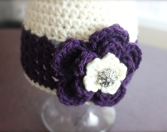 Crochet hat with flower for baby, infant, newborn, toddler, newborn prop