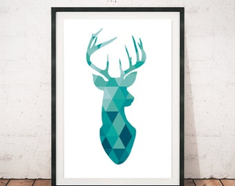 Deer print, Antler print, Deer poster, Wall art, Wall print, Printed art, Deer silhouette, Deer geometric, Animals prints, Antler art