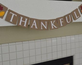 Thankful Banner - Thanksgiving Mantle Banner - Fall Decor
