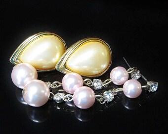 Vintage De-Stash Bulk Lot 2 Pr Pierced Faux Pearl Earrings Pale Pink Drops with Ice Rhinestones and Tear Drop Shape Set in Gold Tone Base