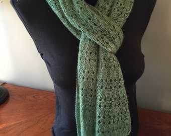Cashmere Scarf - Hand Knit - Hand dyed - Rib Lace - Women - Men