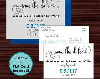 Always and Forever Save the Date Flatcard or Postcard - Save The Date Template - Printable PDF - Instant Download - DIY Save The Date