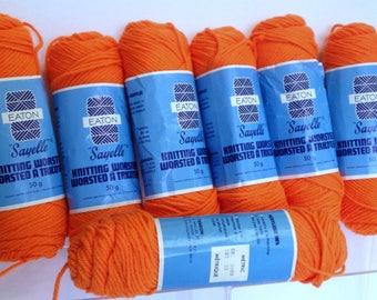 Halloween Pumpkin Colored Eaton Sayelle Yarn, Worsted Yarn Bundle of Bright Orange Knitting Yarn Destash, 7 Skein Bundle