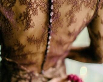 Evening lace tea length dress, burgundy prom dress, tea length wedding dress, short prom dress, short formal, 0103 // 2017