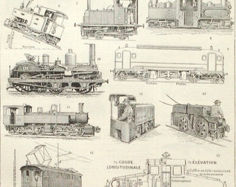 Locomotives original 1922 art print - Trains, railway, railroad, steam, transport - 95 years old French book plate illustration (C283)
