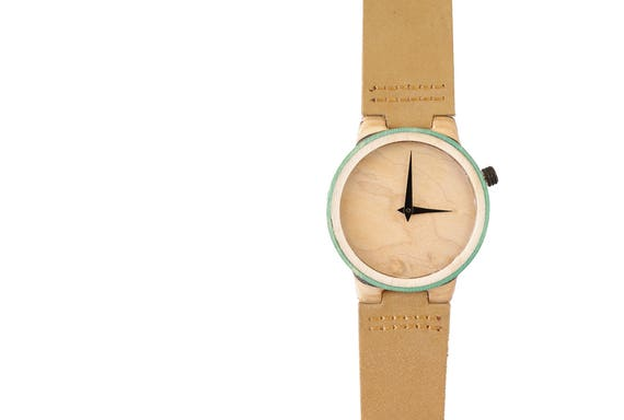 7PLIS watch #45 Recycled SKATEBOARD #madeinfrance yellow brown green wood