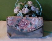 Vintage tan Floral clutch wallet women's wallet 5 sections key chain included