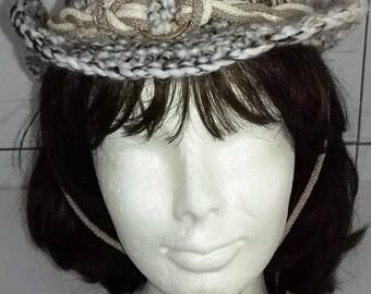 Hat cowboy crochet, hat cowboy hook man, hat cowboy crochet woman, mottled beige crochet, hat western cowboy hat
