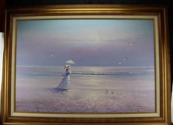 "Original Oil Painting Seascape Beach Victorian Woman  44"" x 32"" Framed Signed Walton"