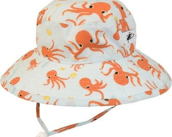 Child's Sun Protection Sunbaby Hat - Organic Cotton Print in Octopus (6 month, xxs, xs, s, m)
