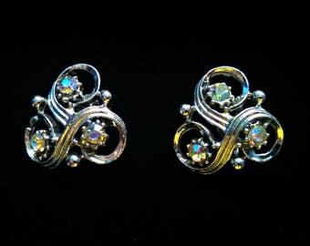Vintage Earrings, Aurora Borealis Trefoil Screw Back, Silver Tone, Clover Shape, Rhinestone, Mid Century, Circa 1950s, Includes Gift Box