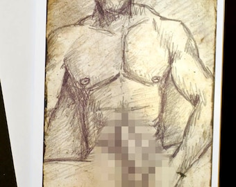 GAY GREETING CARD - blank inside, original artwork. Bodybuilder wank.