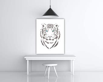 Tiger Art Print, Watercolor Animal Portrait Art, Blue Tiger Eye Art, Safari Animal Print, Gray And White Art Blue Eyes Tiger Gift Eye Poster