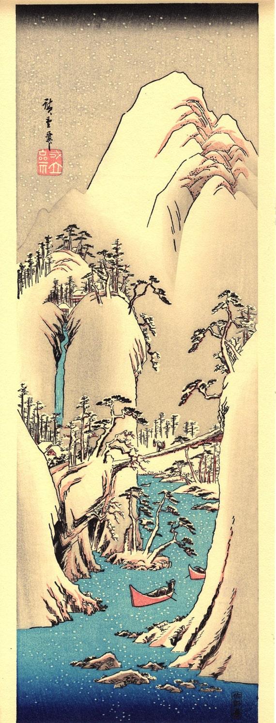 "Japanese Ukiyoe, Woodblock print, antique, Hiroshige, ""Snow on Fuji river"""
