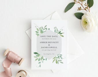 Printable Save The Date Printable - Botanical Garden Wedding - Ready to Print PDF - Wedding Invites - Letter or A4 Size (Item code: P631)