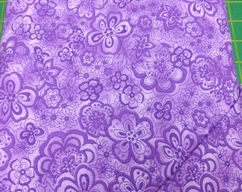 Isadora fabric. lilac purple violet flowers quilters cotton quilting Blank Textiles 1527
