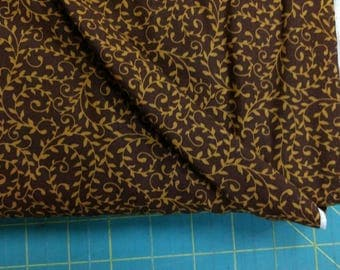 Samsara fabric. Cocoa Brown vineing vines vine leaf leaves quilters cotton quilting Blank Textiles 2526