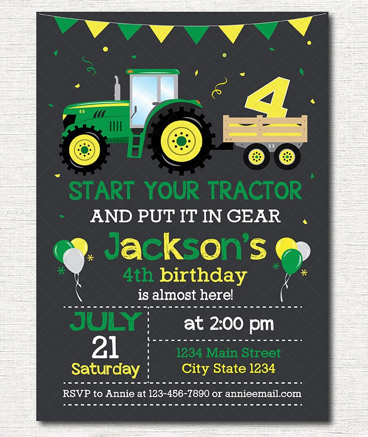 tractor birthday invitations – gangcraft, Birthday invitations