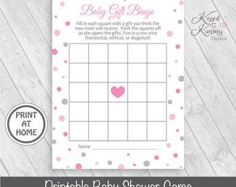 70% OFF - Baby Gift Bingo - Baby Shower Games - BabyShower Game Pack - Baby Bingo - Printable - 5x7 - Pink Gray - P-22