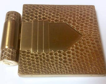 Vintage Dorothy Gray Patented Buckle Powder Compact with Attached Lipstick Holder