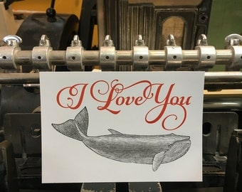 "Card mailing whale ""I Love You"""