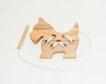 Wooden lacing dog toy, Educational toy, Montessori toys, Organic toy, Toddler activity, Natural eco friendly, Learning sewing toys