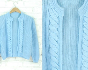 80s Soft Chunky Knit Baby Blue Open Cardigan Size Small Medium