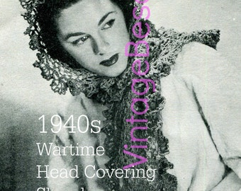 INSTANT DOWNlOAD - PdF Pattern - 1940s Head Covering Shawl Wartime Rosie the Riveter Vintage Crochet Pattern