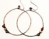 RASTA HOOPS: large hoop earrings, oxidized copper, freshwater pearls, reggae, bold, antiqued, concert earrings, Maui, Hawaii, oceanjazz