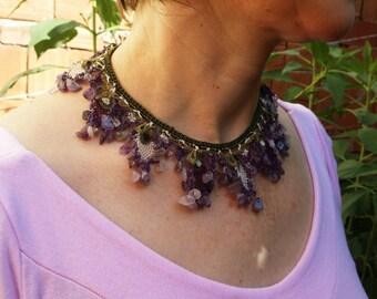 Amethyst Necklace, Mediterranean Boho Jewelry