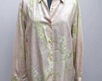 Liz Claiborne LizSport Beige & Green Floral Linen Blend Blouse, Size PS