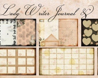 Journalling & Planner Pages - Lady Writer Printable Journal Kit - Junk Journal Kit, Journal Pages, Planner Pages, Digital Download