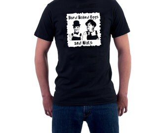 Laurel & Hardy T-shirt. Hard Boiled Eggs and Nuts Funny Cotton Tee. Stan and Ollie