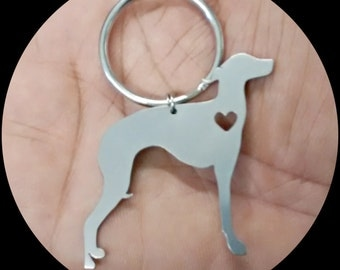 Italian Greyhound Keychain - Custom Made Stainless Steel iHeart Dog - Silver Tone- With Engraving option