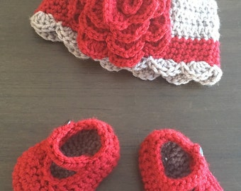 Crochet baby girl Hat and Mary Jane shoes set
